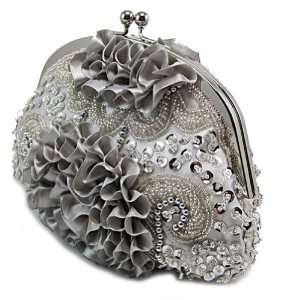 Silver Beaded Flower Pleated Purse Wedding Clutch Evening Bag
