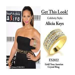 ES2022 ALICIA KEYS Inspired   Gold Plated Austrian Crystal