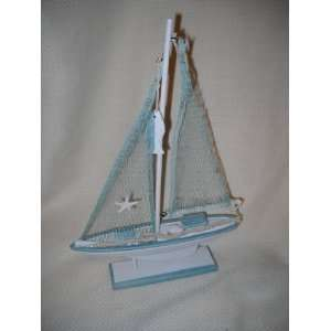 Small Wooden Sail Boat Beach House Table Decor Starfish