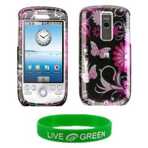 Pink Butterfly Design Snap On Hard Case for HTC myTouch 3G