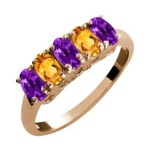 Ct Oval Purple Amethyst and Yellow Citrine 18k Rose Gold Ring Jewelry