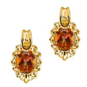 Ecstasy Mystic Topaz and Citrine Gold Plated Silver Earrings Jewelry