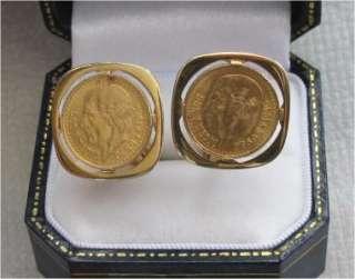 GOLD CUFFLINKS MEXICO 2 PESO COIN, COINS 1945, 22K