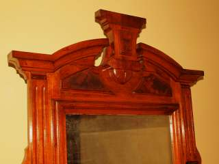 Antique Carved Victorian Burl Mahogany Commode Dresser Chest Mirror NO