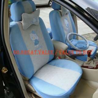 Set Hello Kitty Car Seat Steering wheel Cover Blue 18pc