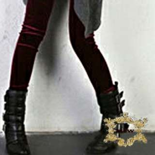 Cotton Velvet Thermal fashion Skinny Pencil Dark Red leggings |
