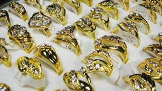 wholesale lots 30pcs pretty CZ Crystal GOLD plated ring jewelry new