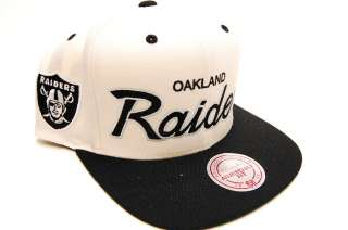 Oakland Raiders Off White Script M&N Mitchell and Ness Snapback Mens