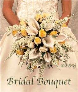 Wedding Bouquet Bridal Flowers silk ANNA BELLE YELLOW