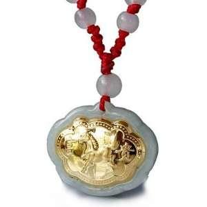 24K Gold Chinese Zodiac Horse Genuine Jadeite Jade Pendant