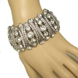 Bridal, Pageant Silver Tone Stretch Bracelet Everything