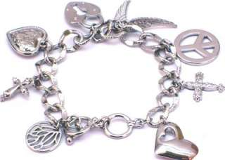 New Stunning Peace Sign ♥ Heart Charms Silver Tone Bracelet