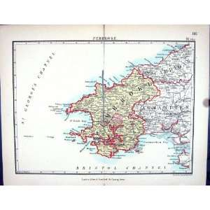 Stanford Antique Map 1885 Pembroke Wales Carmarthen Bay