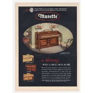 1952 Musette French Provincial Piano Color Print Ad (Music