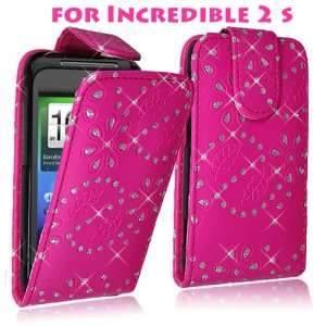 ) Case for HTC Droid Incredible 2 S 6350 Pink Glitter Diamond Leather