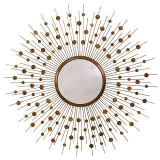 Vintage Brass Mid Century Starburst Convex Mirror