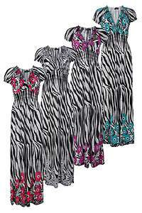 WOMENS FLORAL ZEBRA PRINT STRETCH LADIES LONG MAXI DRESS SIZE 10 16 UK