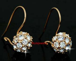 9mm 18k Gold GP use Swarovski Crystal Ball Stud Earring _ IE14