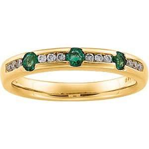 Yellow Gold Emerald & Diamond Anniversary Band Ring Size 7.0 Jewelry