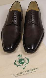 BORRELLI NAPOLI SHOES $1,495 DARK BROWN WING TIP HANDMADE DERBY 12D
