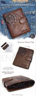 New Mens Genuine Leather CreditCard Wallet Coin clutch Purse UT H)