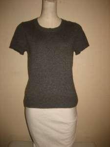 Jones New York Collection Cashmere Petite Gray Short Sleeve Sweater