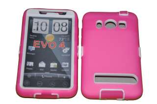 Hot Pink Double Layer Hard Case For HTC EVO 4G / A9292 (White)