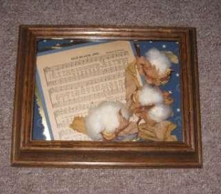 Old Black Joe Sheet Music Framed with Cotton Bolls
