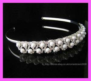 Wedding/Bridal crystal veil tiara crown headband CR058