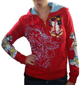ED HARDY Christian Audigier Geisha Tattoo Zip Hooded Womens Hoodie