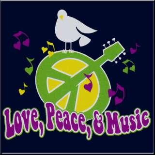 Love Peace Music Guitar Retro Shirt S L,XL,2X,3X,4X,5X