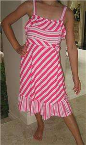 New Girls Pink Candy Cane Stripe Dress by Rare Editions size