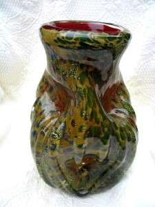 ART GLASS VASE STUNNING DESIGN RED GOLD BROWN BLUE