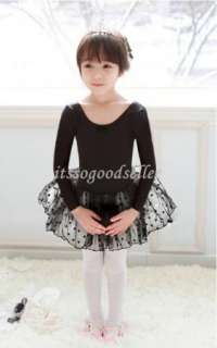 Girl Party Long Sleeve Leotard Ballet Tutu Costume Dance Skirt Dress 2