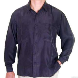 New Mens Black 100% Silk Shirts With All Sizes