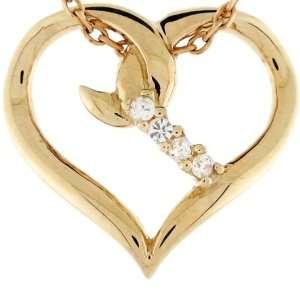 14k Solid Gold 0.06 cttw Diamond Heart Fancy Charm Pendant Jewelry