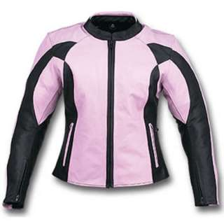Ladies Leather Motorcycle Jacket   Light Purple & Black