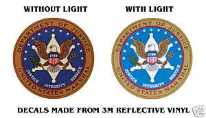SEAL DEPARTMENT OF JUSTICE MARSHAL BADGE DECALS 4 x 4