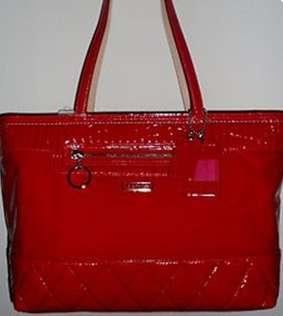New COACH Poppy Large Tote Liquid Gloss Cherry Red 18674 handbag purse