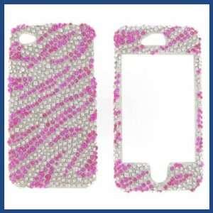 Apple iPhone 4/CDMA/4S Full Diamond Hot Pink Zebra Protective Case