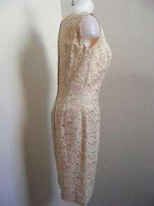 VTG 50s BEIGE & Cotton LACE Wiggle Dress & Jacket Set M