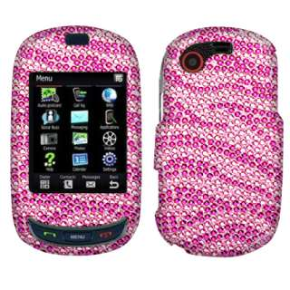 For Samsung T669 Gravity T Phone Zebra Hot Pink Crystal Bling Stone