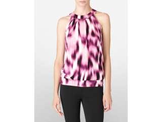 calvin klein womens abstract print halter top