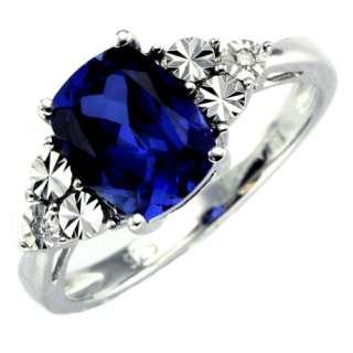 Silver lab created blue sapphire diamond ring