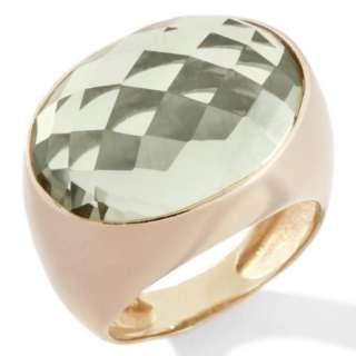 Technibond Prasiolite Oval Faceted Ring 14K Yellow Clad Silver