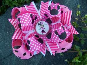 MINNIE MOUSE PINK & BLACK POLKA DOTS BOTTLECAP HAIRBOW