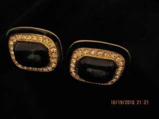 Awesome Vtg Earrings Gold Tone Black Stones Rhinestone