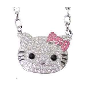Hello Kitty LARGE Rhinestone/Crystal Swarovski necklace w/pink bow by
