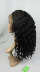 indian remy human hair front lace wig 16 1# deep wave
