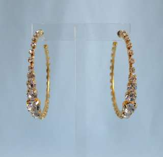 Baby Phat Large Gold Rhinestone Hoop Earrings #716